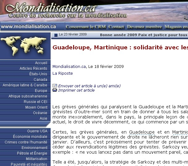 Guadeloupe, Martinique : solidarité avec les grévistes ! Non à la répression !